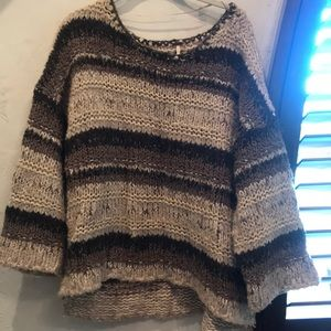 Free People Striped Oversized Sweater